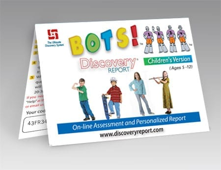 """Discovery Report - Child's Personality Test (assessment) W/ Full Report, Online (""""BOTS"""") POSTCARD"""
