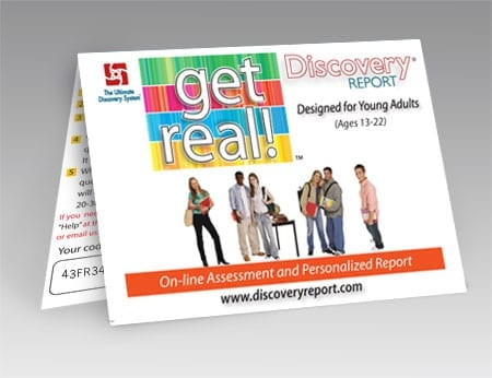 "Discovery Report - Teen Personality Test (assessment) W/ Full Report, Online (""Get Real"") - POSTCARD"