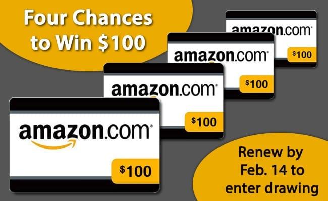 $100 Amazon gift card renewal drawing