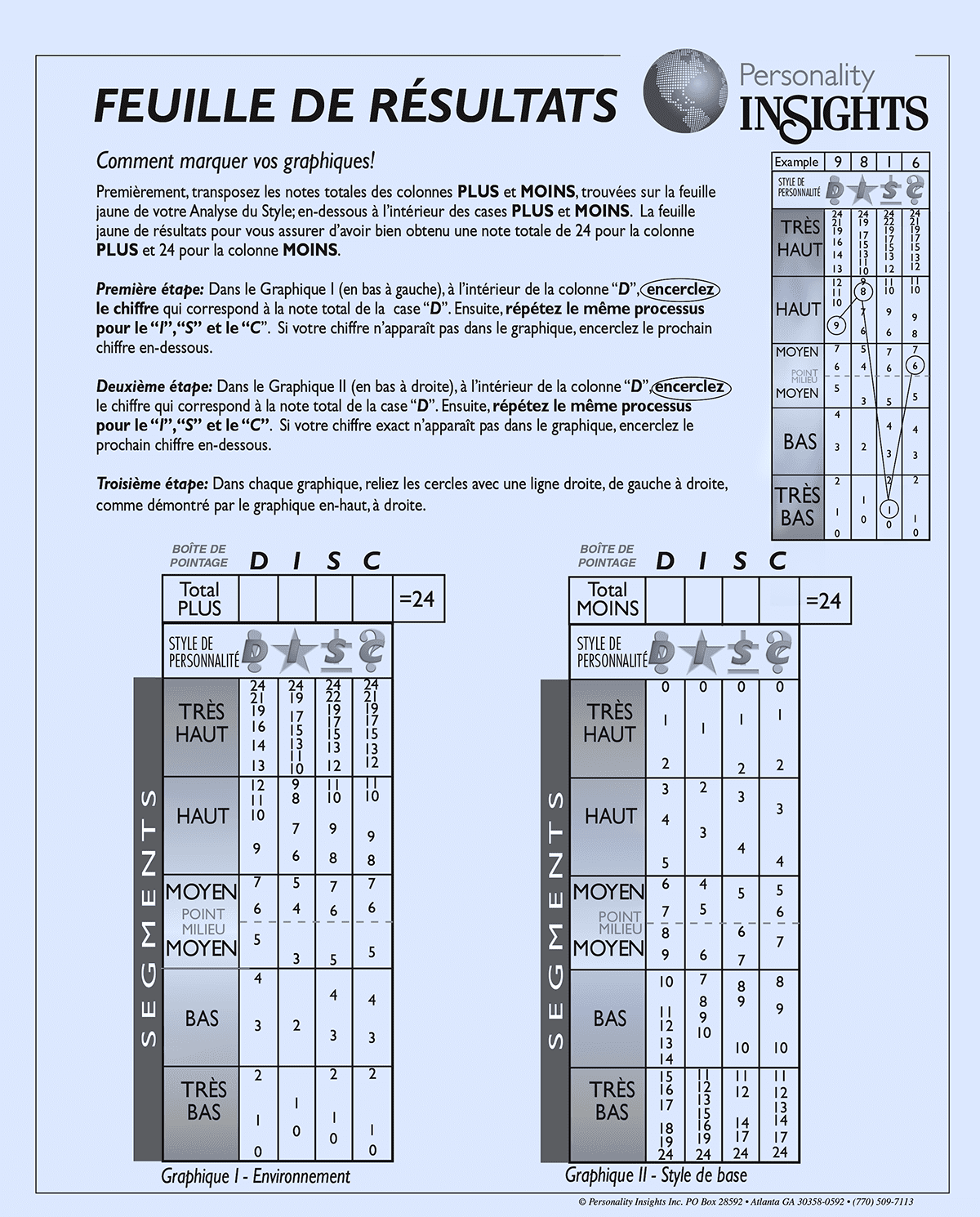 FRENCH: Blue Score Sheet – Adult