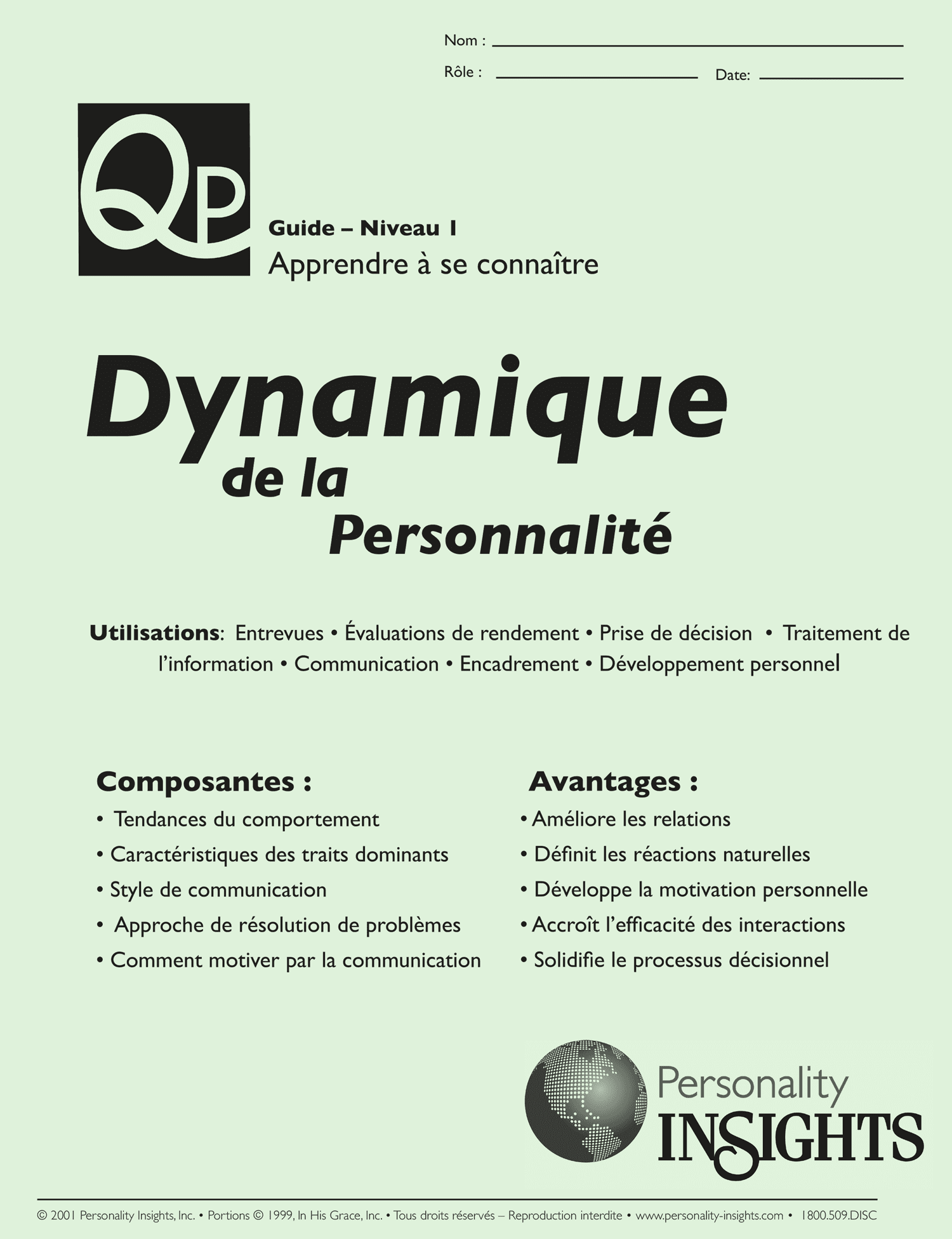 French Personality Dynamics (PQ Guide)