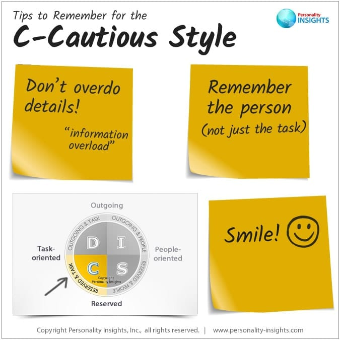 tips to remember for the c-cautious personality style