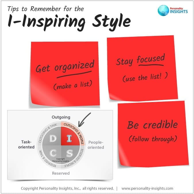 Tips to remember for the I-Inspiring personality style
